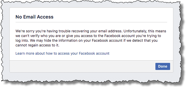 Facebook - No email access