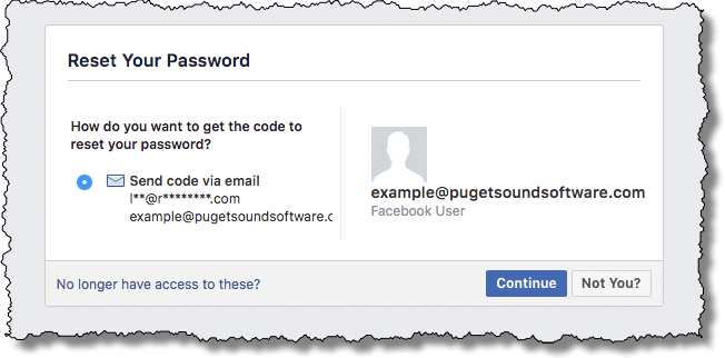 Facebook reset your password