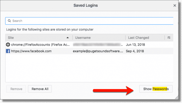 Firefox Saved logins