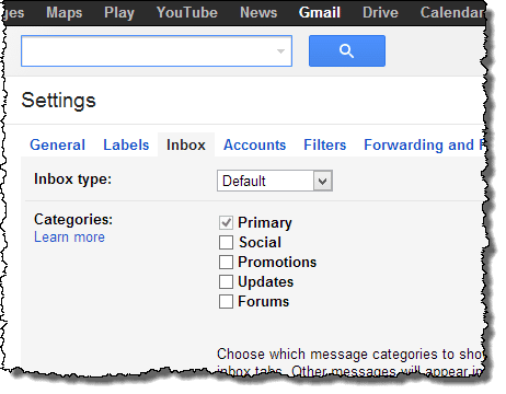 Gmail inbox settigns