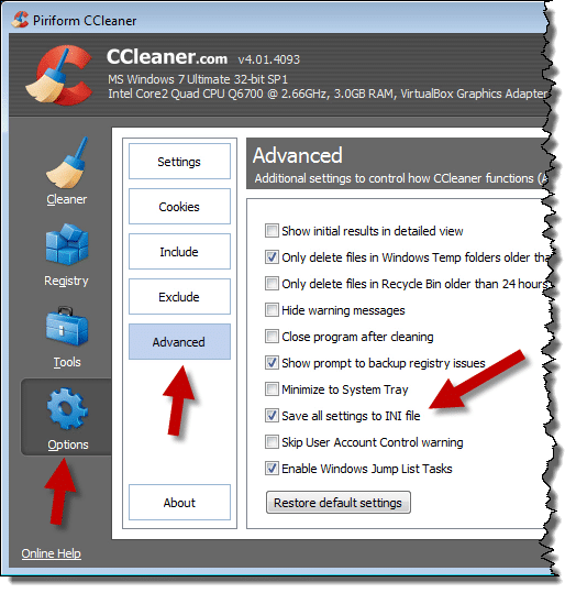 CCleaner Save To INI