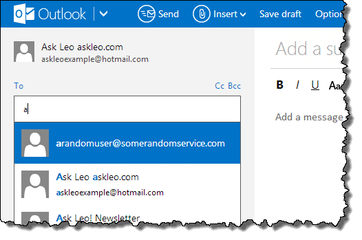 Outlook.com suggestions