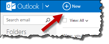 New message button in Outlook.com