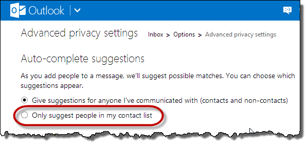 Outlook.com Only suggest people in my contact list