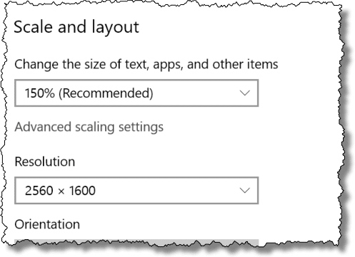 Windows 10 Scale and Layout