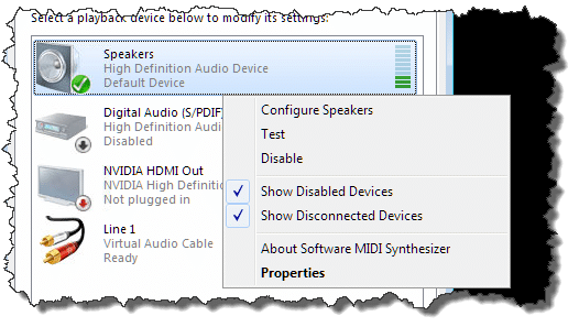 Setting default audio