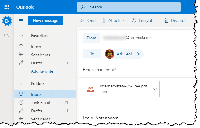 Composing an email with an attachment in Outlook.com