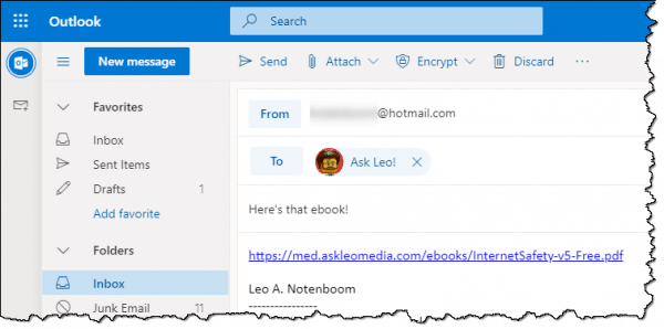 Sending a link to a file using Outlook.com.