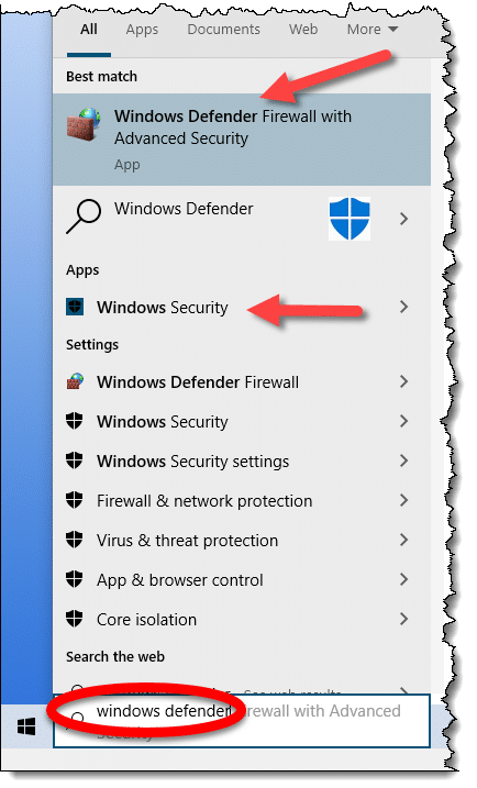 Searching for Windows Defender