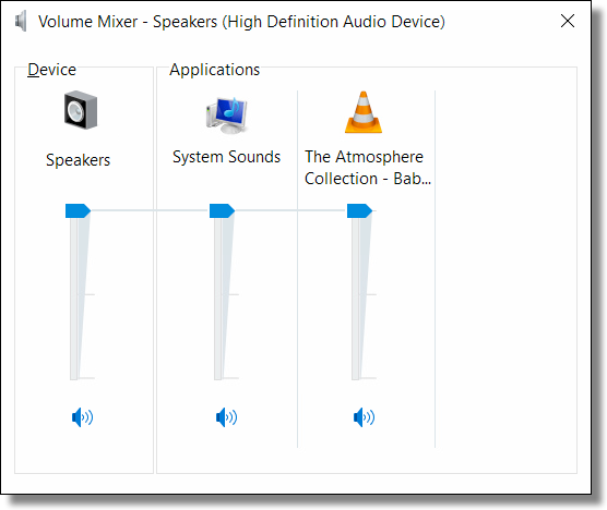 Windows 10 Volume Mixer