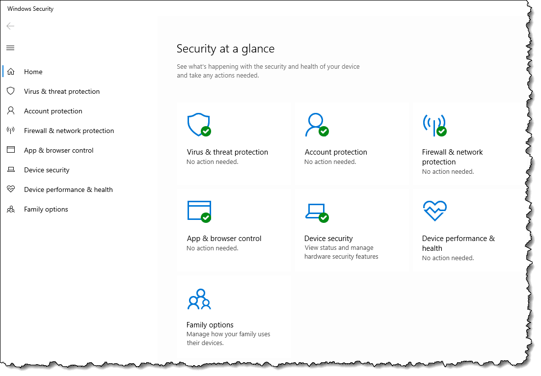 Windows 10 Windows Security app