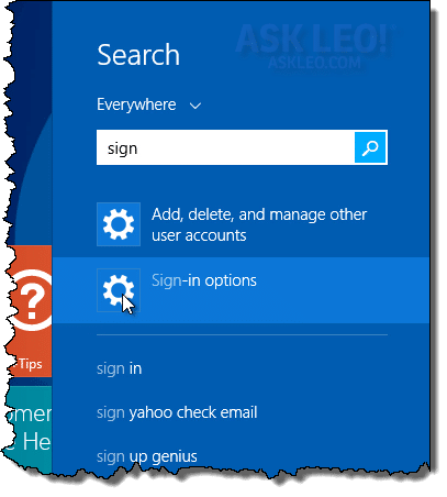 Windows 8 Search for sign