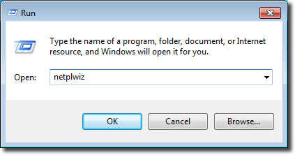 Running netplwiz in Windows 7