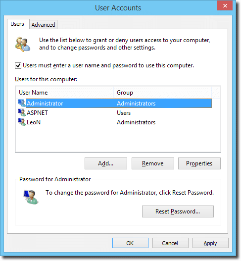 User Accounts Dialog