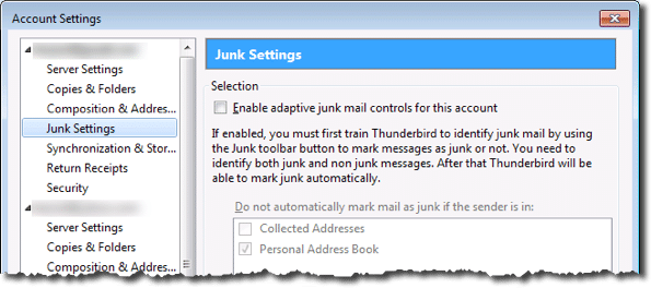 Thunderbird Junk Settings