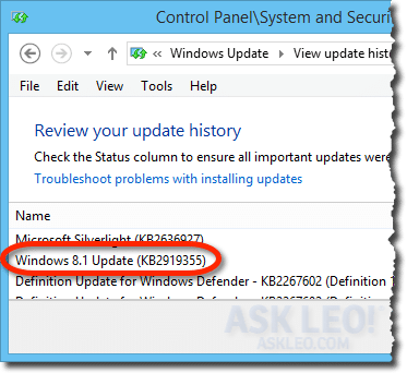 Windows 8 Update in Update history