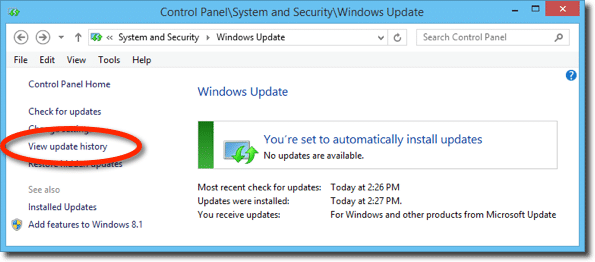 Windows Update - View update history link