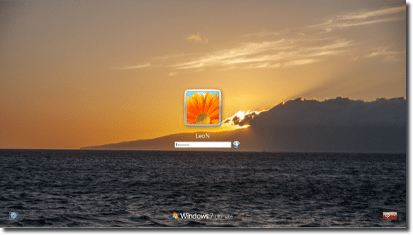 Windows 7 with custom login background