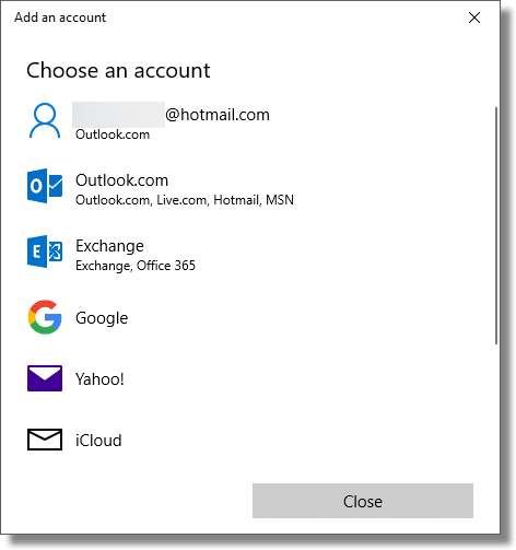 Mail: Choose an account