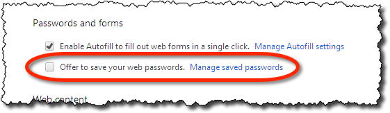 Chrome's offer to save passwords