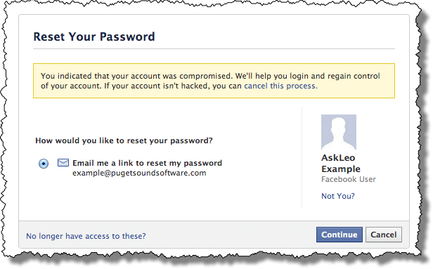 Facebook Reset Password Option