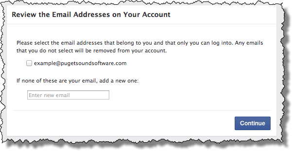 Facebook Validating Email addresses