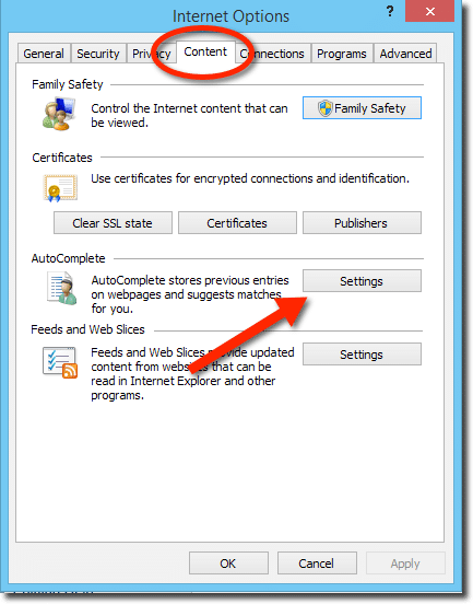 Internet Explorer Options, Content Tab