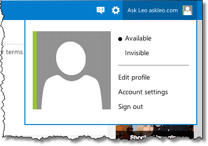 Outlook.com Menu