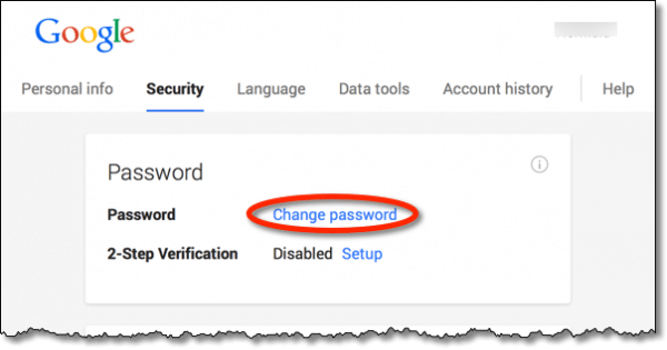 Gmail change password link
