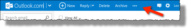 Ellipsis in Outlook.com menu bar
