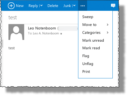 Outlook.com Ellipsis Menu Drop-down