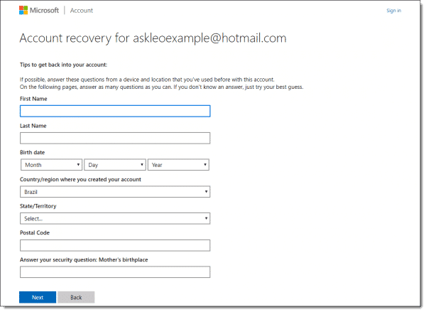 Microsoft account recovery information request