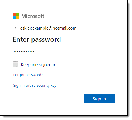 Microsoft account, enter password dialog