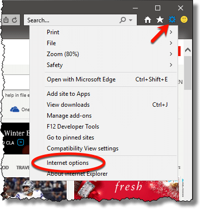 Internet options menu item in Internet Explorer