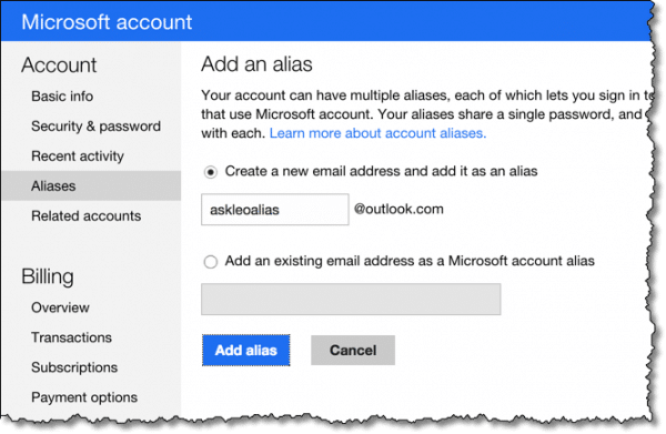 Outlook.com Add An Alias