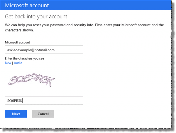 Outlook.com account choice