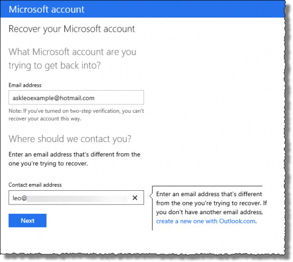 Outlook.com offline account recovery