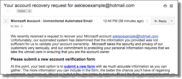 Microsoft account recovery fail