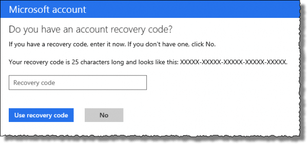 Outlook.com recovery code