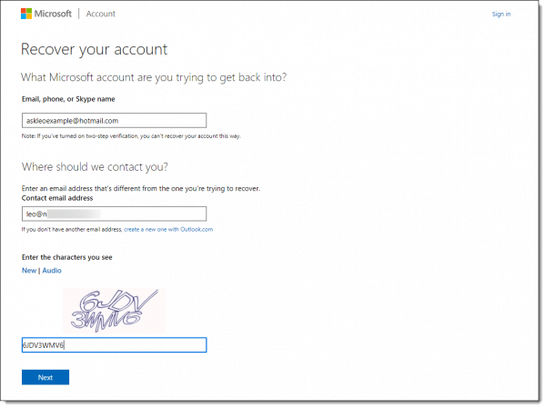 Microsoft account - beginning manual account recovery
