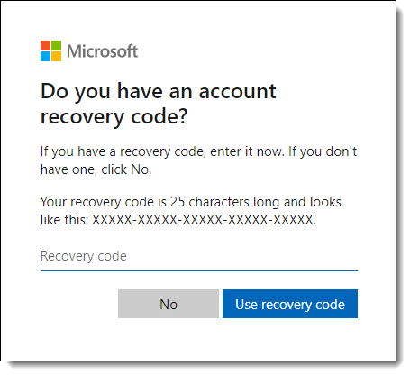 Microsoft account recovery code option