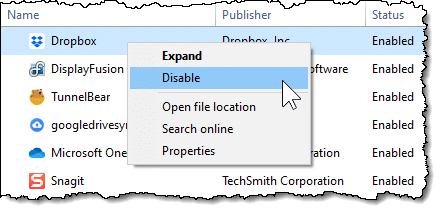 Disabling an item in Task Manager Startup