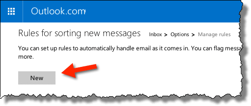 Outlook.com New Rule button