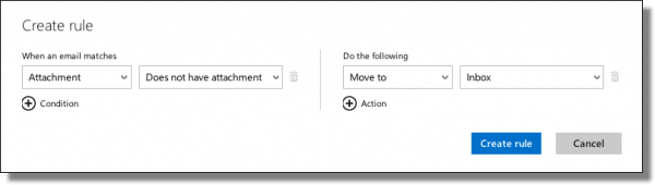 Outlook.com no attachment rule