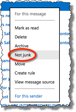 Outlook.com Not Junk
