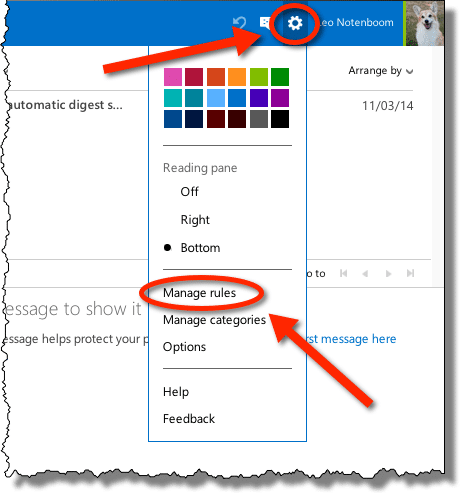 Outlook.com Manage Rules link