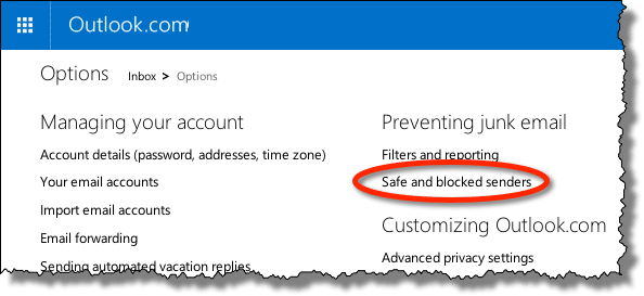 Outlook.com link to Safe and blocked senders