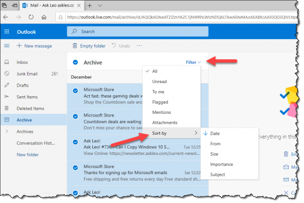 Sorting Options in Outlook.com