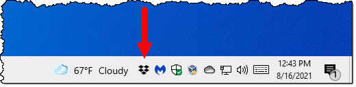 Dropbox icon in the notification area.