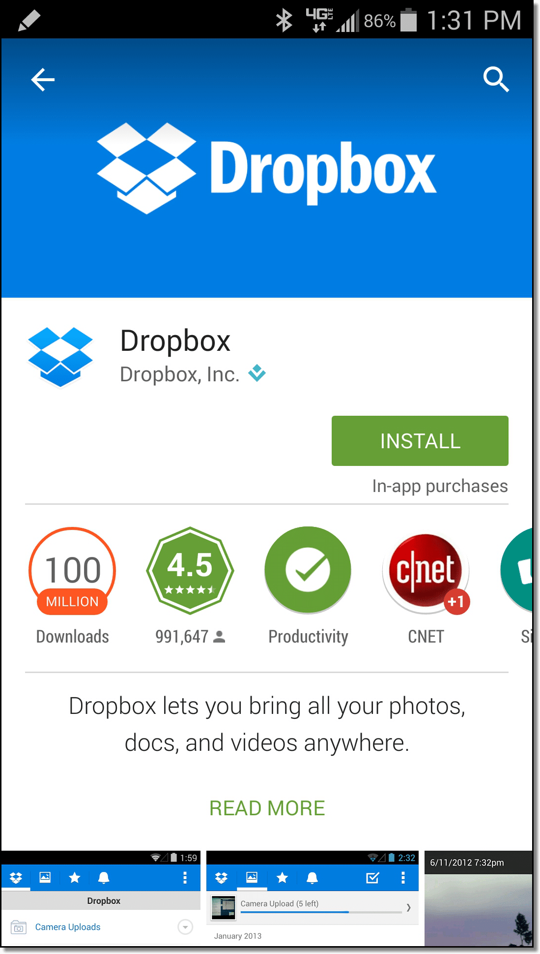 Dropbox in the Google Play store